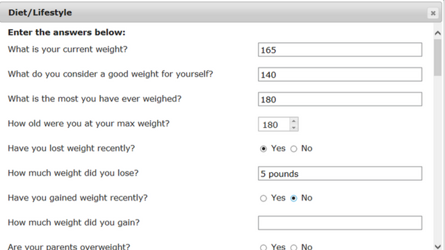 meal planning software diet questions